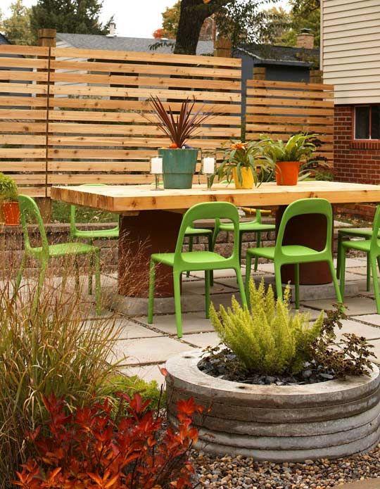 Gartenzaun Sichtschutz Latten Holz Essbereich Freien | Garten ... Gestaltungsideen Essbereich Im Freien