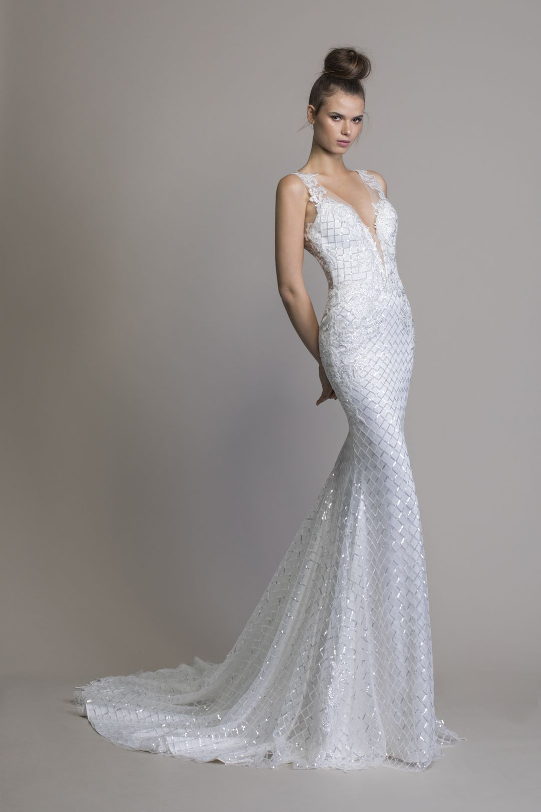 54830eeda5 V-neck Sheath Sequin Wedding Dress in 2019 | Pnina Tornai Wedding ...