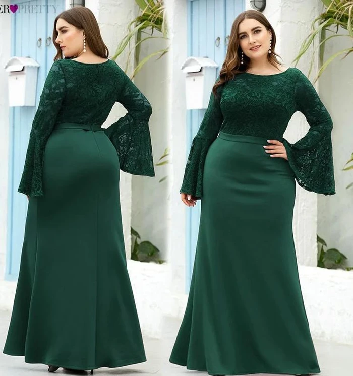 Mermaid O-Neck Flare Sleeve See-Through Lace Plus Size Formal Dresses – Excelsior Plus Size #plussizedress