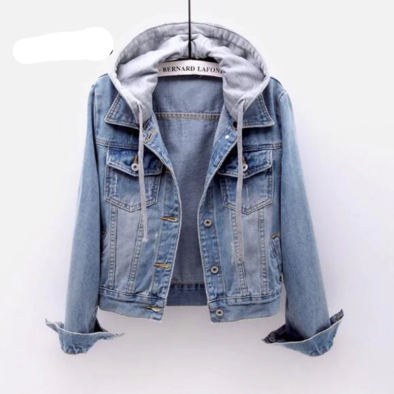 Womens Hooded Denim Coat Ladies Loose Jeans Outerwear Trench Jackets J