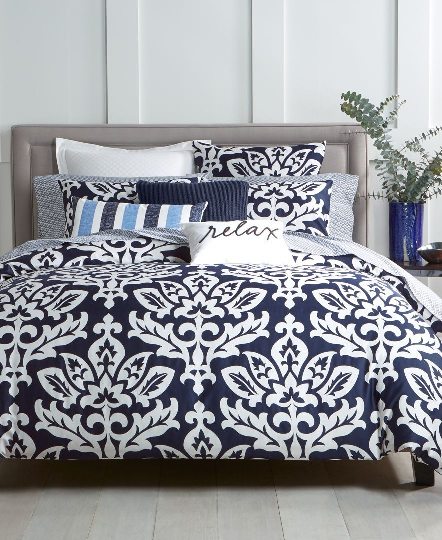 Charter Club Cotton Navy 3-Pc. King Duvet Set, Created for Macy's & Reviews - Bedding Collections - Bed & Bath - Macy's