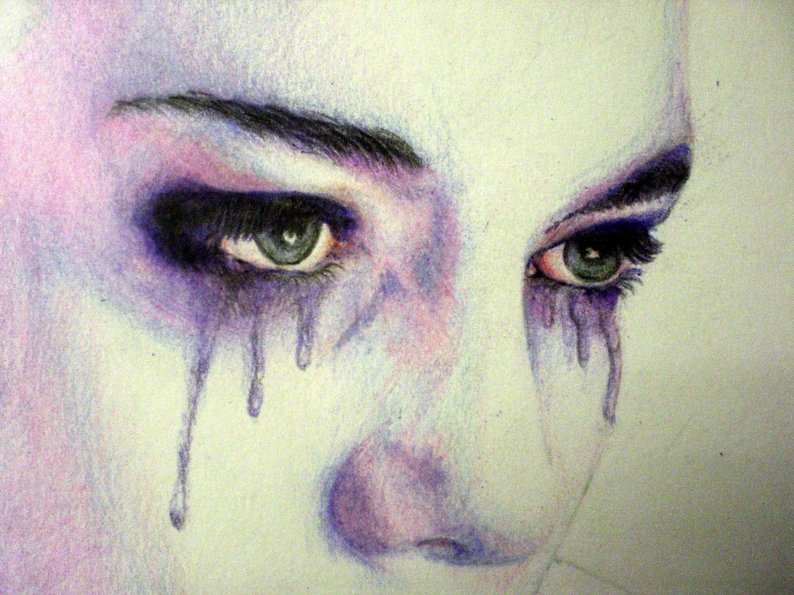 Image for girl crying alone desktop wallpaper eye painting pencil art sad drawings