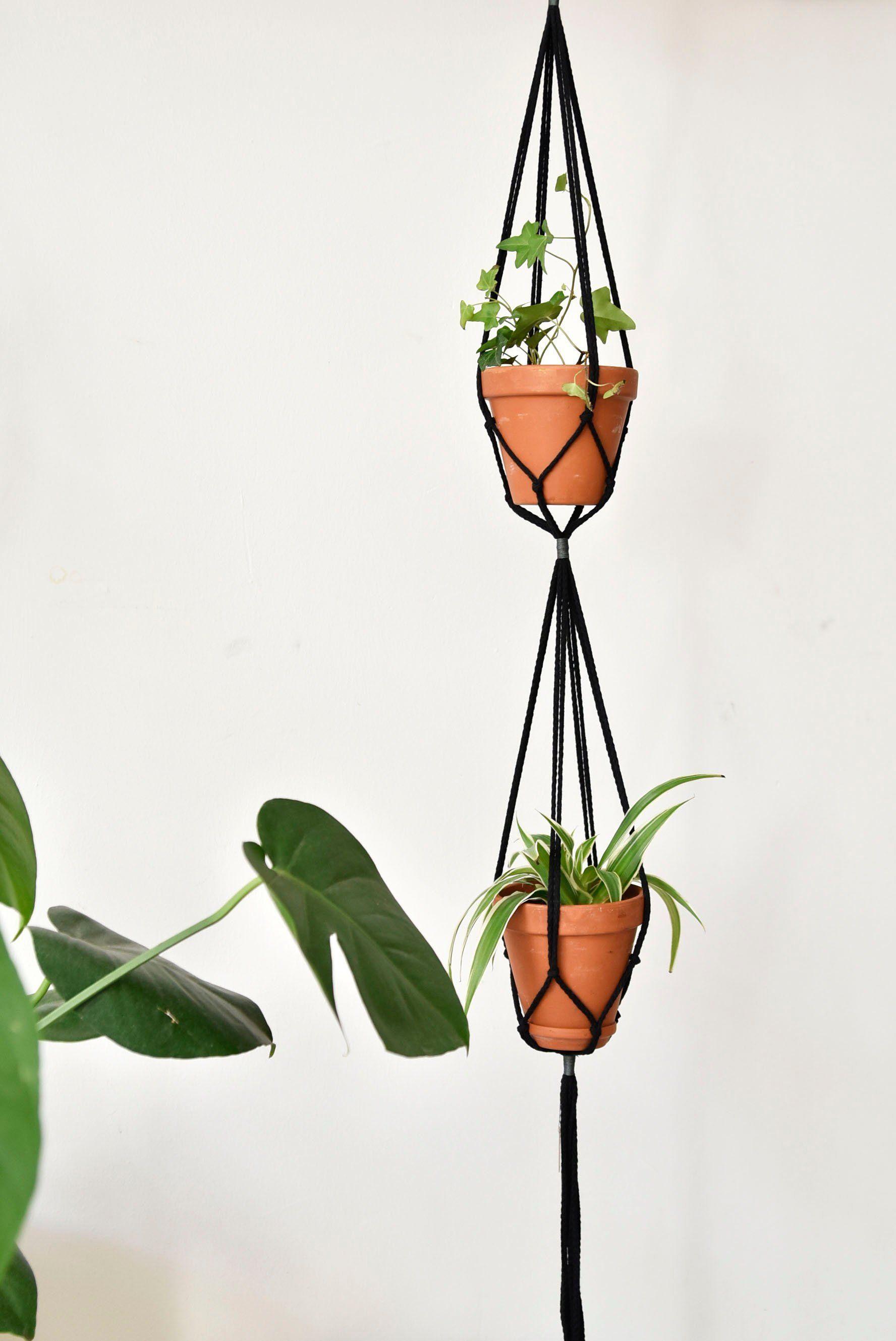 Double macrame plant hanger hanging flower pot modern