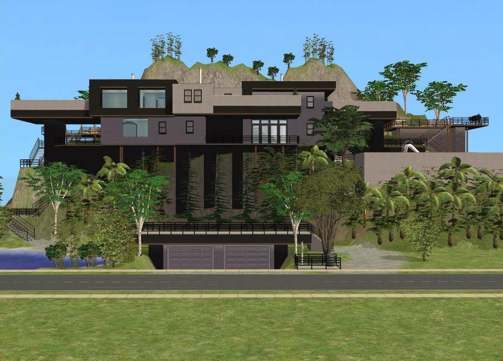Sims 2 big modern house