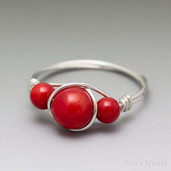 Red Coral Sterling Silver Wire Wrapped Gemstone Bead Ring - Made to ...