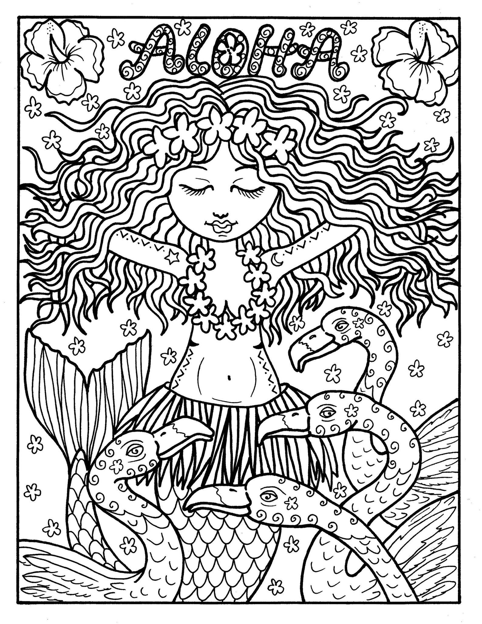 5 Pages Gigital Coloriage Instant Download 5 Photos Tiki Bar Etsy Mermaid Coloring Pages Whimsical Art Coloring Pages [ 2055 x 1588 Pixel ]
