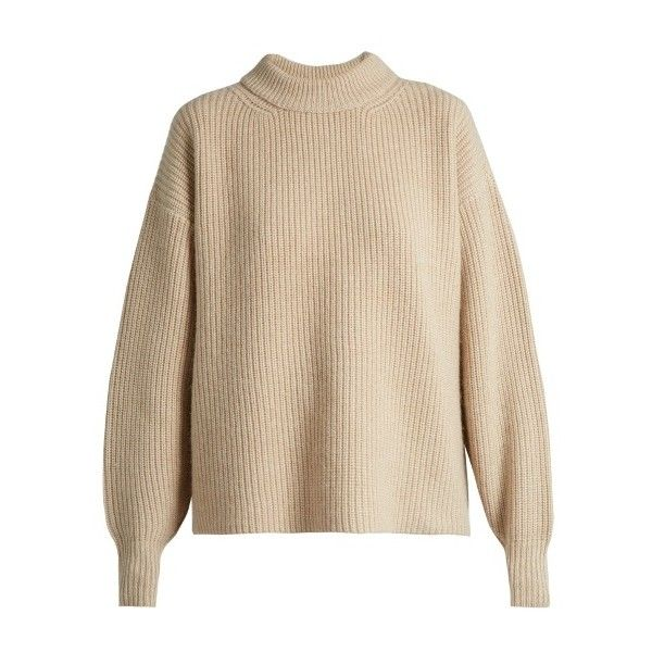 The Row Delia boyfriend knit sweater (12.475 ARS) ❤ liked on Polyvore featuring tops, sweaters, jumper, light beige, beige knit sweater, brown sweater, boyfriend sweater, beige sweater and boyfriend jumper