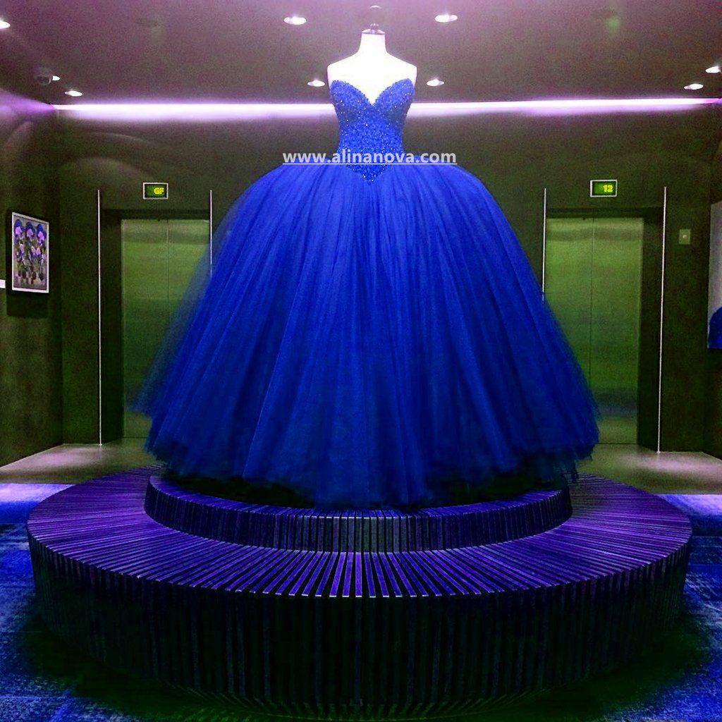 Fully crystal beaded bodice corset royal blue wedding dresses ball