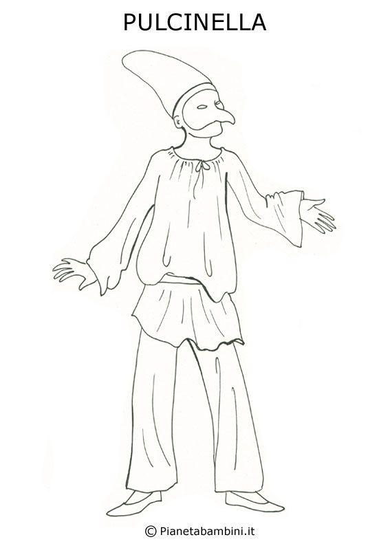 Disegno della maschera di pulcinella da stampare e for Maschere di animali di carnevale da colorare