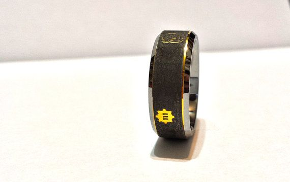 Fallout 4 Wedding Ring.Fallout 4 Tungsten Black With Gold Ring Vault Boy By Iamjenova