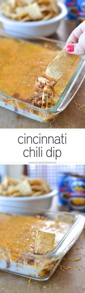 Cincinnati Chili Dip | football food | superbowl recipes | appetizer recipe | dip recipe | simplywhisked.com