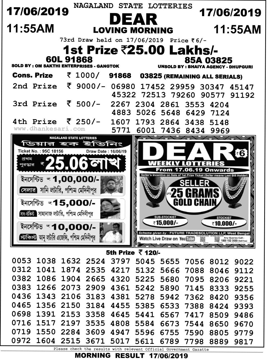 Dhankesari Result Dear Lottery 11am 4pm 8pm | Today result, Lottery,  Lottery results