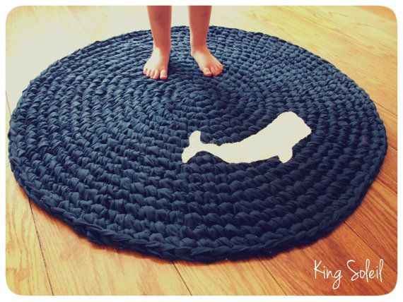 Crochet Whale Rug Nautical Navy Blue With White Applique Whale Silhouette Custom Design Cotton Round Rug On Etsy 100 00 Nautical Rugs Crochet Whale Whale Nursery
