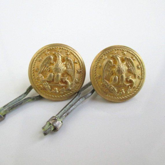 2 Gold Navy Uniform Buttons - Vintage Eagle & Anchor - Small