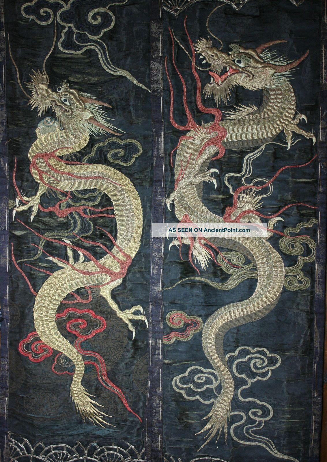 Pair Antique Japanese Embroidered Silk Dragon Hangings Reworking Kimonos & Textiles