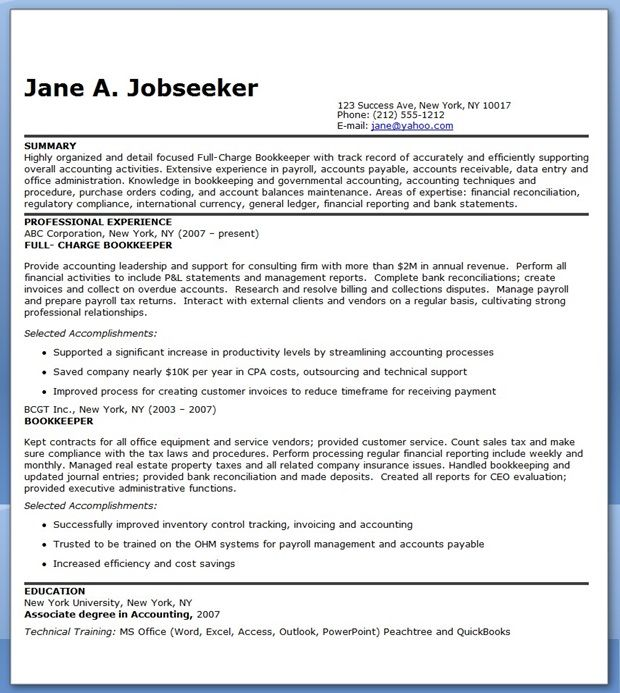 Bookkeeper Resume Sample Summary Creative Resume Design - full charge bookkeeper resume sample