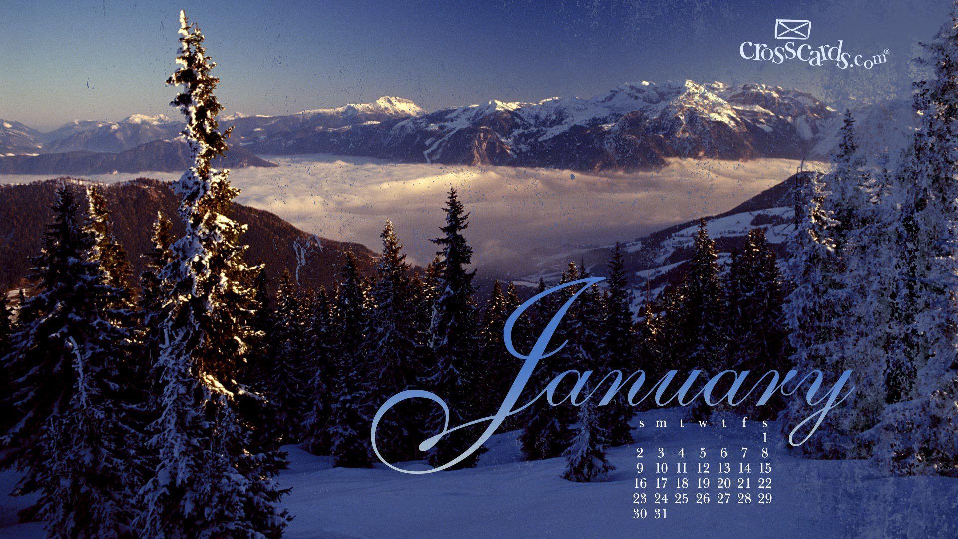 Crosscards Wallpaper Monthly Calendars. Wallpaper January