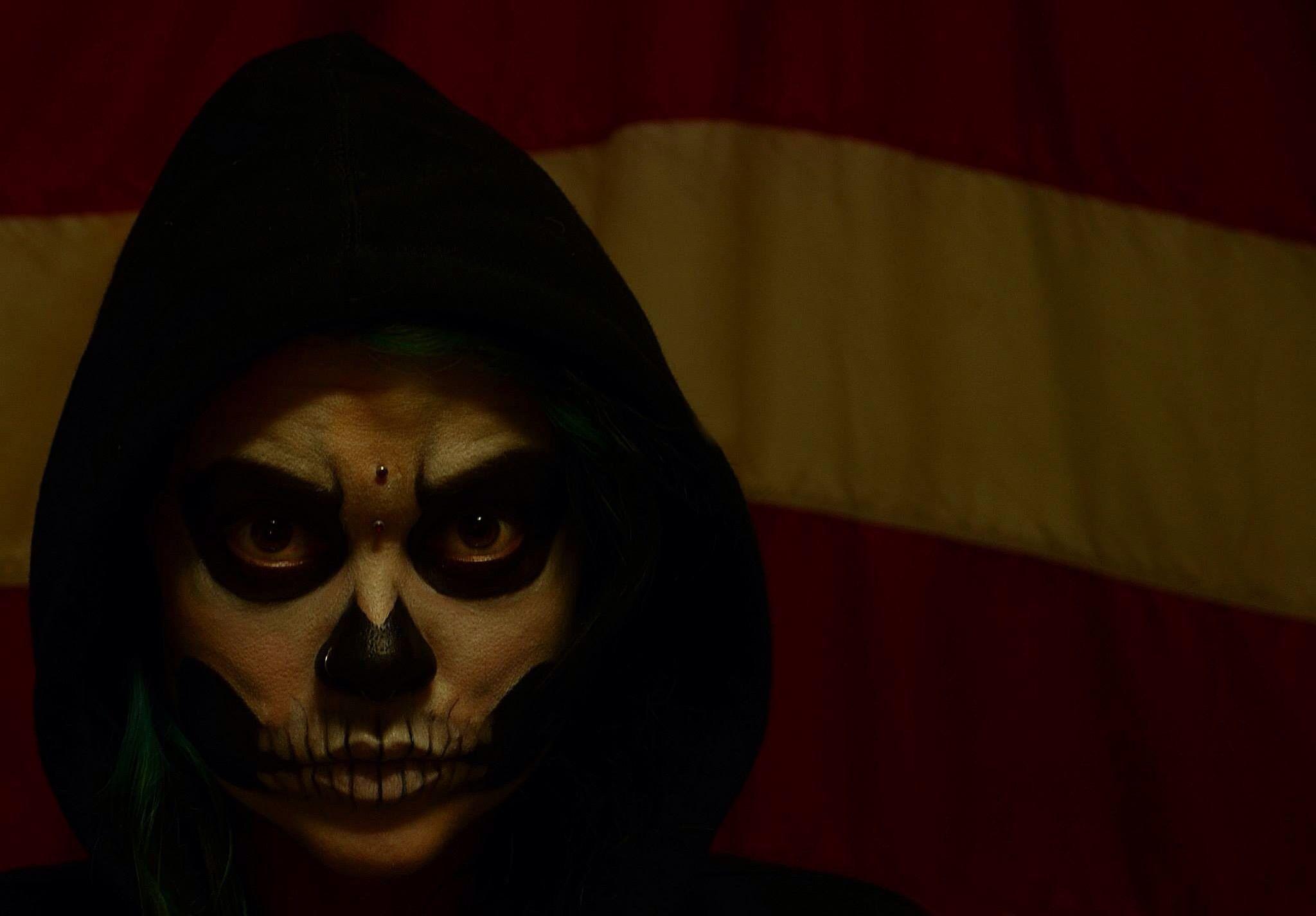 Skull face paint.