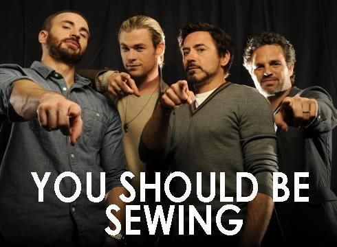 How awesome is this? Incredible movie! All SEXY men! Definitely makes we want to sew and watch The Avengers for the 10th time.