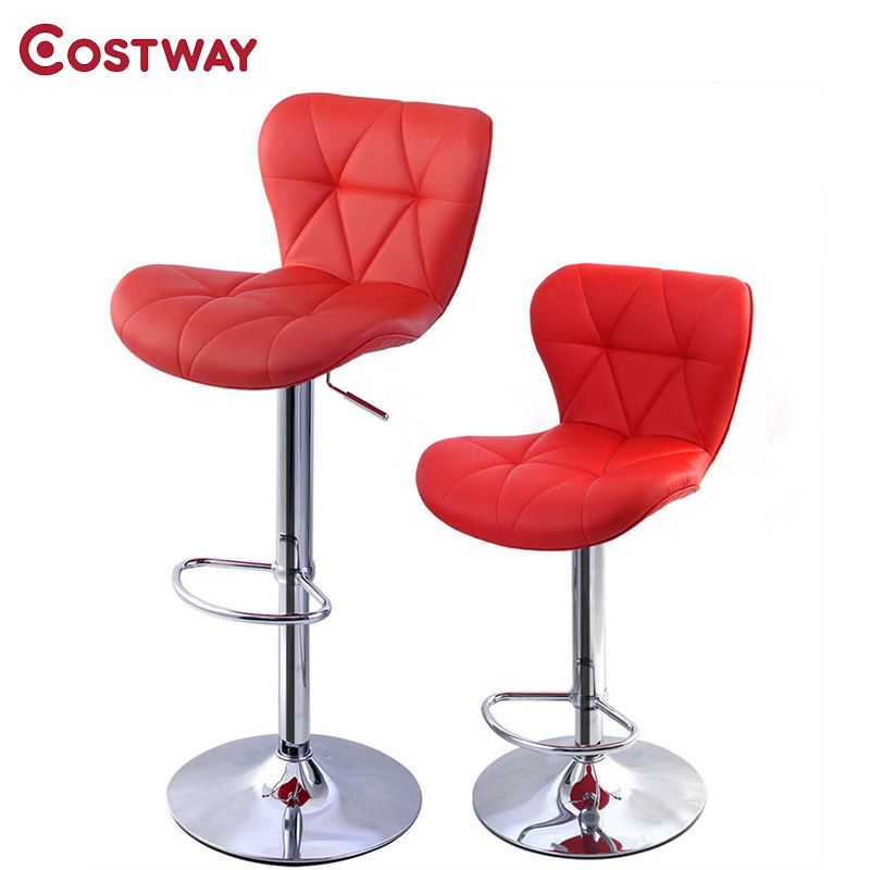 Remarkable Costway 2Pcs Red Pu Leather Modern Adjustable Bar Stool Pdpeps Interior Chair Design Pdpepsorg