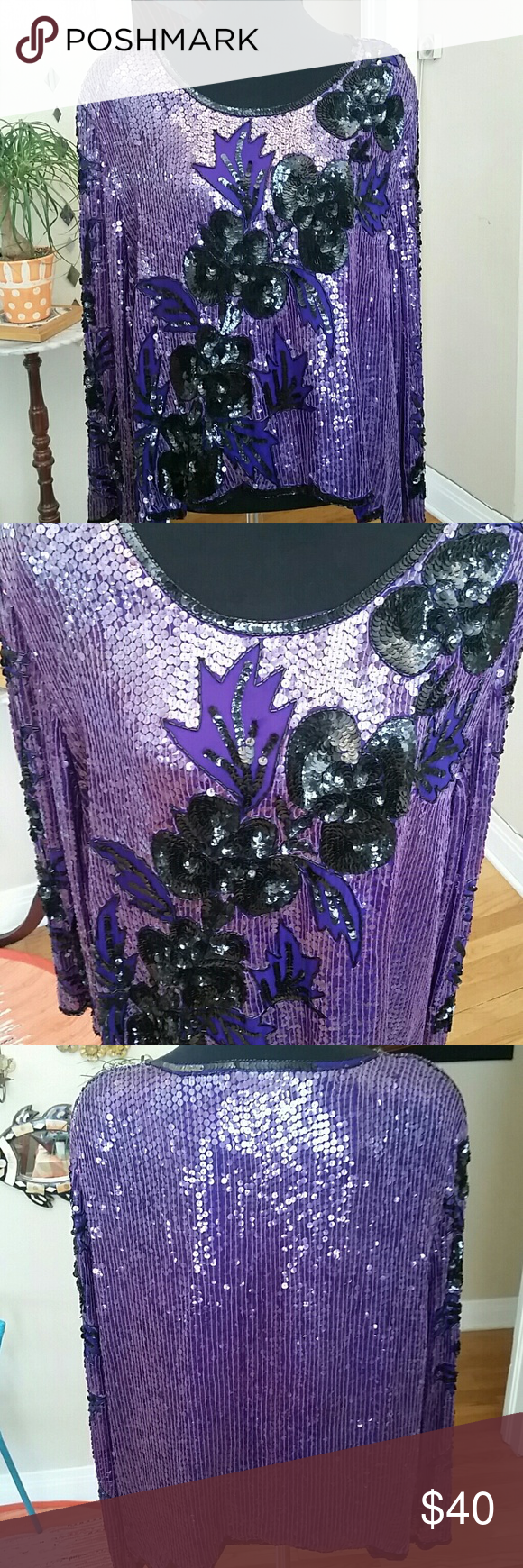 VTG Purple Sequin Top! Gorgeous! Size L This blouse is incredible! Does have shoulder pads but easily can be taken out. Has cute little slits on sides. Gorgeous black and bright royal Purple sequins. 100% pure silk. Looks super cute hanging off shoulder. Fits like a L/XL but looks cute on a smaller woman. Wider feeling. Love this vintage classic top!♡ Vintage Tops