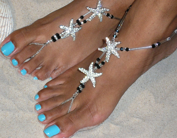 Happi Feet, starfish, swarovski crystals, barefoot sandals, wedding shoes, destination wedding shoes, beach wedding shoes, The Estelle HF104