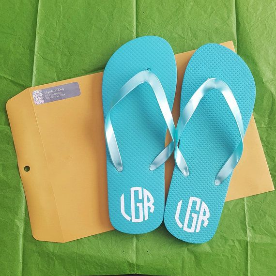 Personalized Monogram Flip Flops by PersonalizedPeacock1 on Etsy