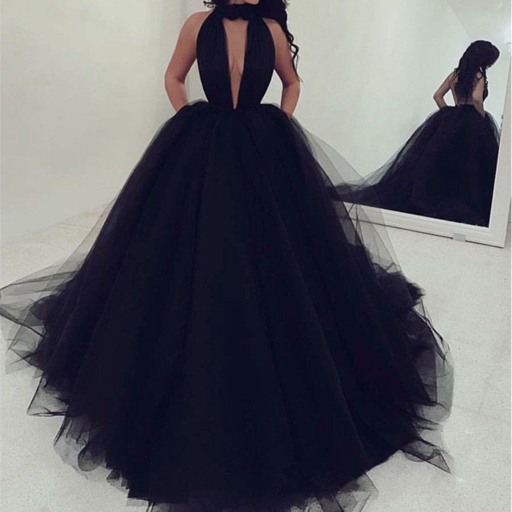 Sexy halter top tulle ballgowns prom dresses backless evening