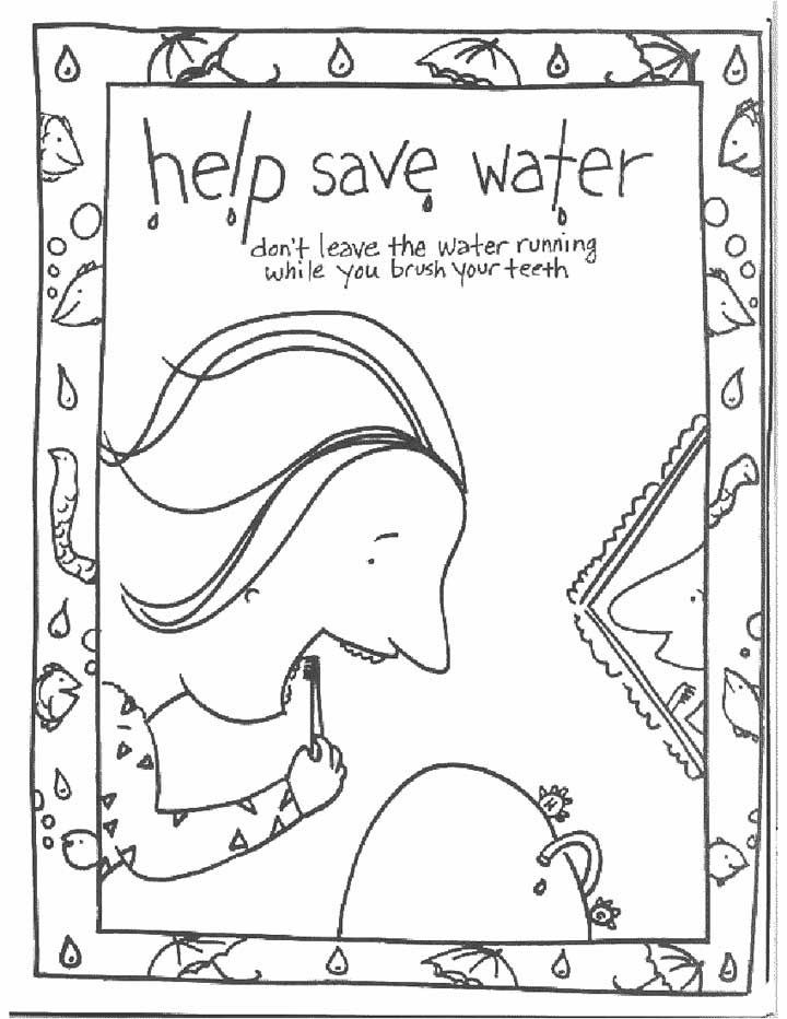this coloring page for kids focuses on saving water by turning the tap off while you brush your