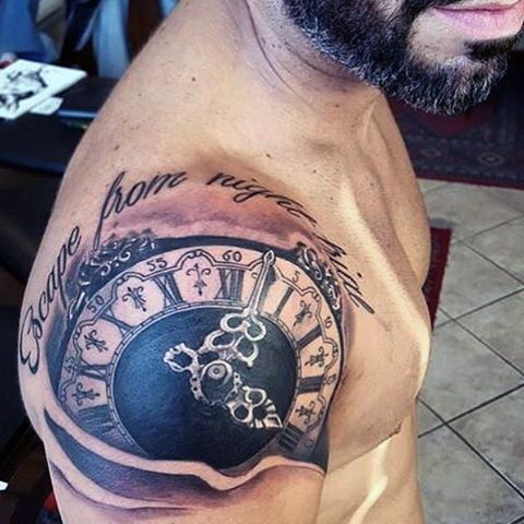 Clock tattoo flash men tatoo el chino pinterest for Clock tattoos for guys
