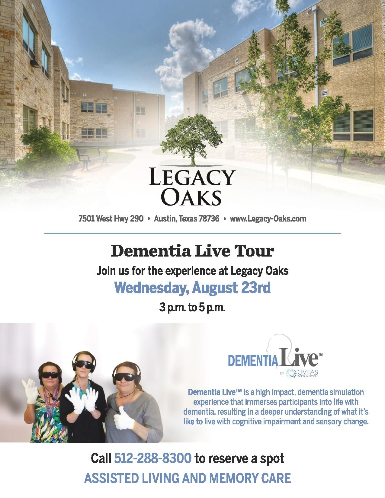 Join Us For The Experience On Wednesday August 23rd Endalz Experiencedementia Dementialive Senior Communities Community Events Senior Living