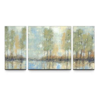 Artefx Decor Through the Mist Textured 3 Piece Painting Print on Canvas Set