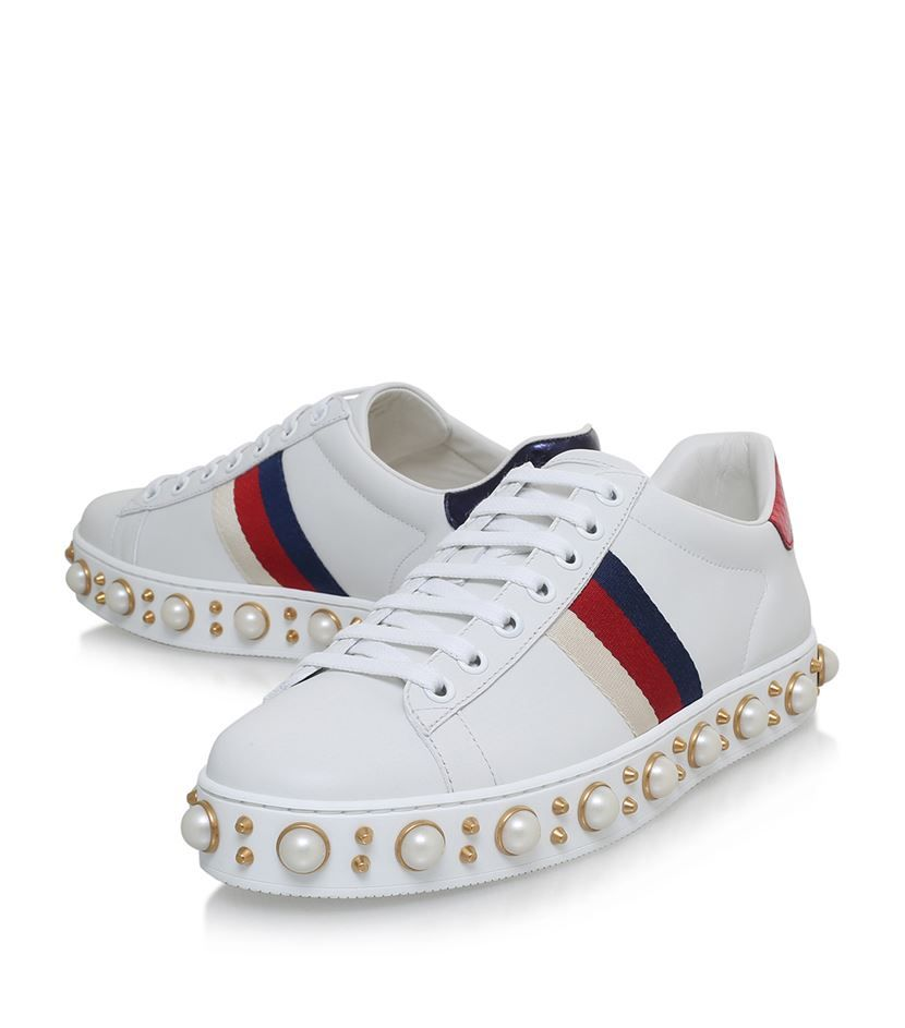 Gucci Ace Pearl Low Top Sneakers White