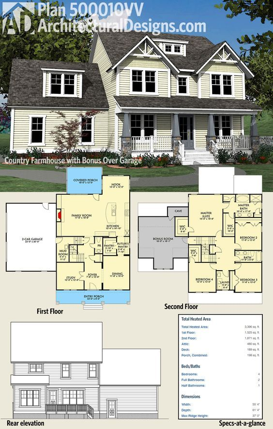 Architectural Designs 4 Bed Country Farmhouse Plan 500010VV Has A Welcoming  Front Porch With 4 Tapered