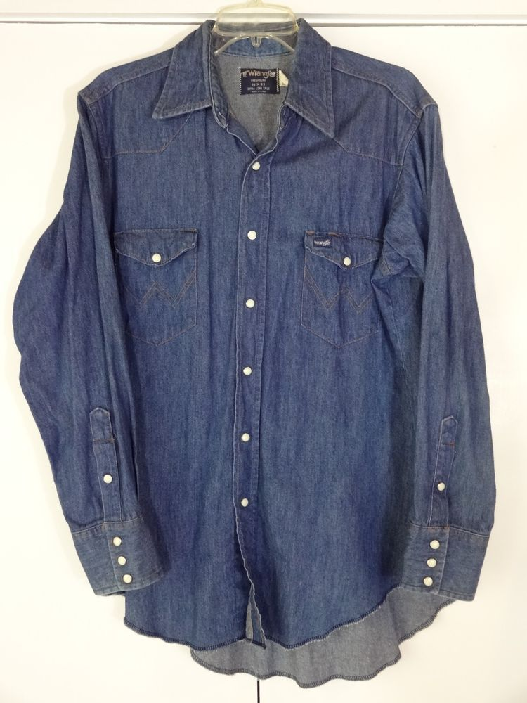 9dfa8428df Details about Vintage 70s Wrangler Denim 70127 MW Pearl Snap Western ...