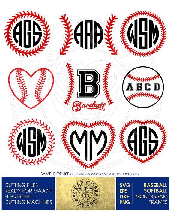 Baseball Softball Monogram Frames Digital Vector by ScrapCobra ...