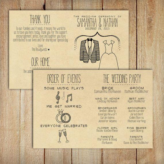 wedding program printable custom diy wedding rustic kraft paper foldable