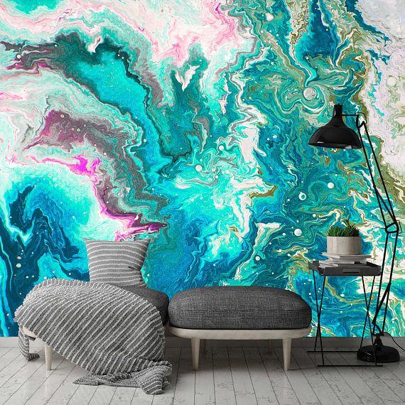 Removable Wallpaper Mural L Stick Abstract Aqua Swirl