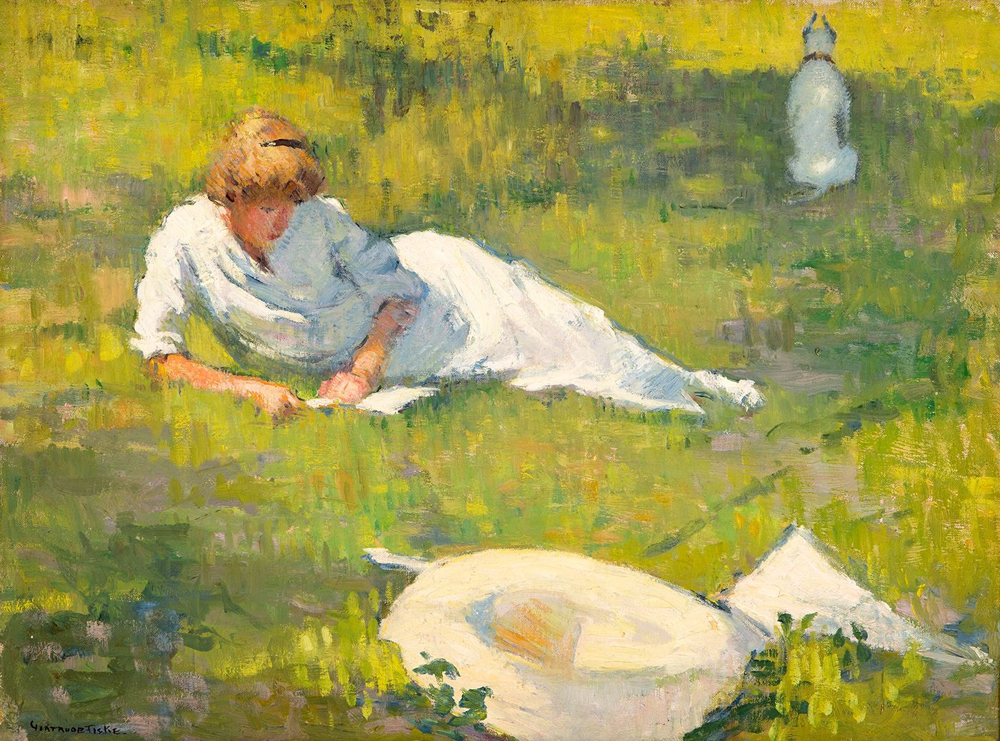 Gertrude Fiske Doras Reading With Dog Ca 1925 American Art American Impressionism Impressionist Paintings