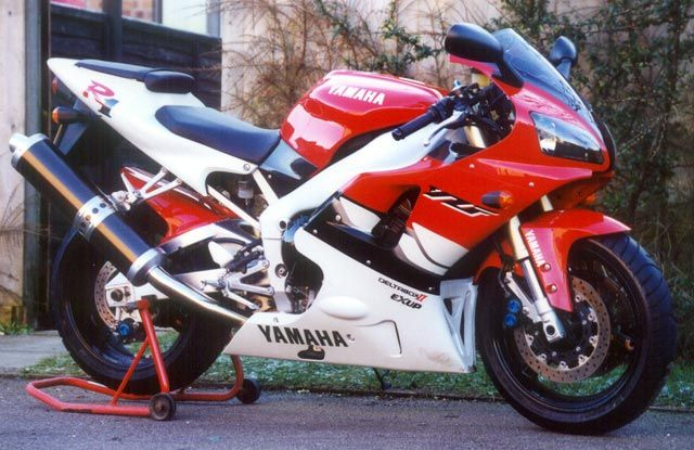 1999 Yamaha YZF-R1. This bike was nuts, a 1000 cc engine and short swinging arm meant the front wheel was mostly off the road!