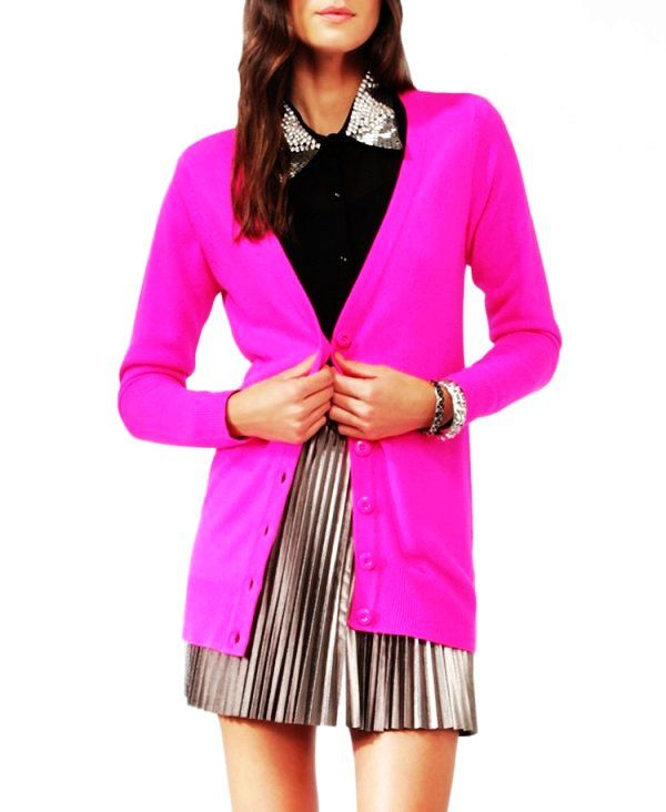Neon Boyfriend Girlfriend Cardigan Sweater - Hot Pink | So chic ...