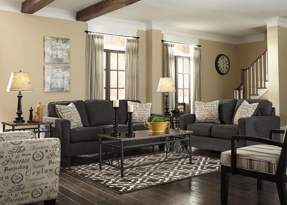 Arthur Charcoal 3 Pc Living Room W Script Accent Chair Living