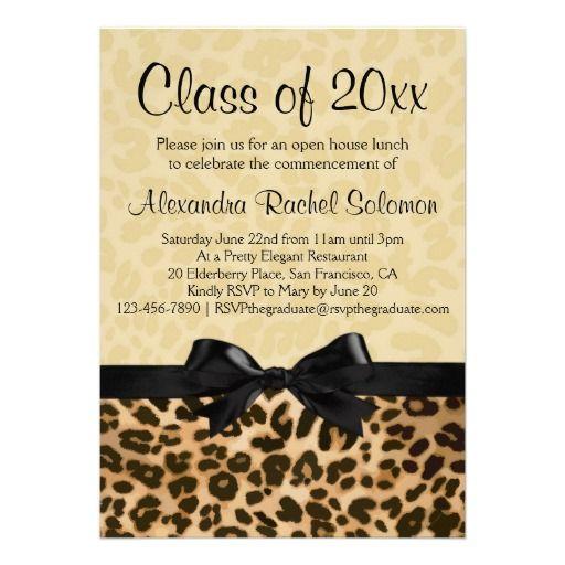 Leopard print with bow graduationparty invitation party leopard print graduationparty invitation graduation zazzle inc filmwisefo Gallery