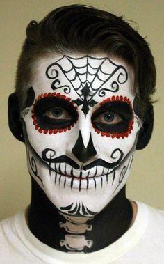 Male Skull Makeup Tutorial Google Search Face Painting Halloween Sugar Skull Face Sugar Skull Face Paint