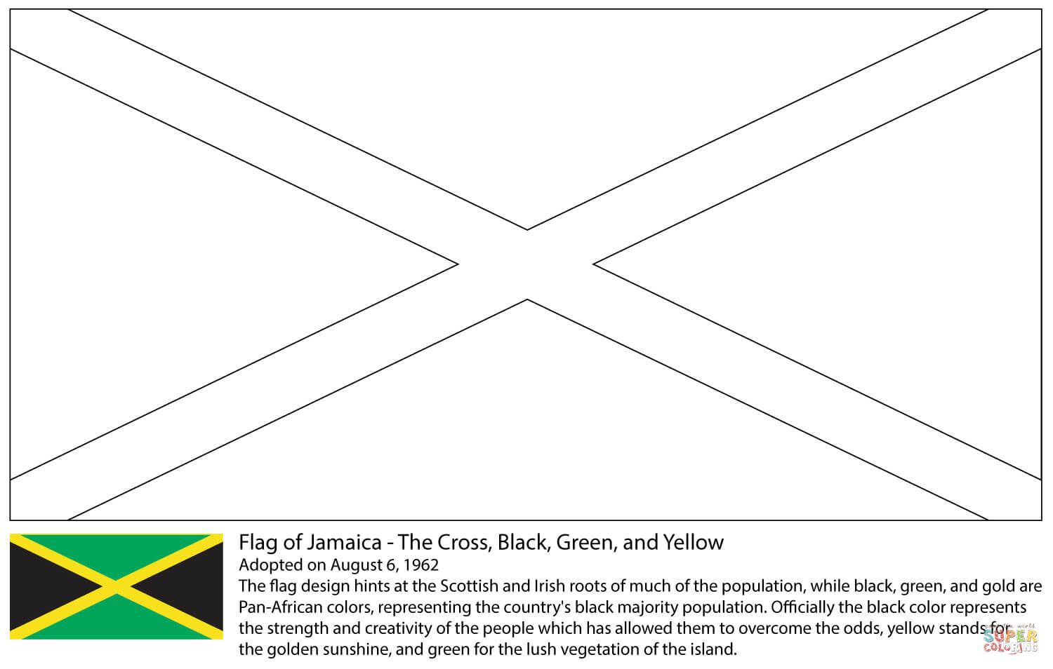 Flag Of Jamaica Coloring Page From Central America And