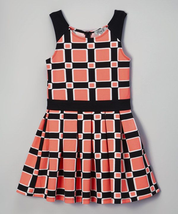Look at this Neon Pink & Black Geometric Sleeveless Dress on #zulily today!
