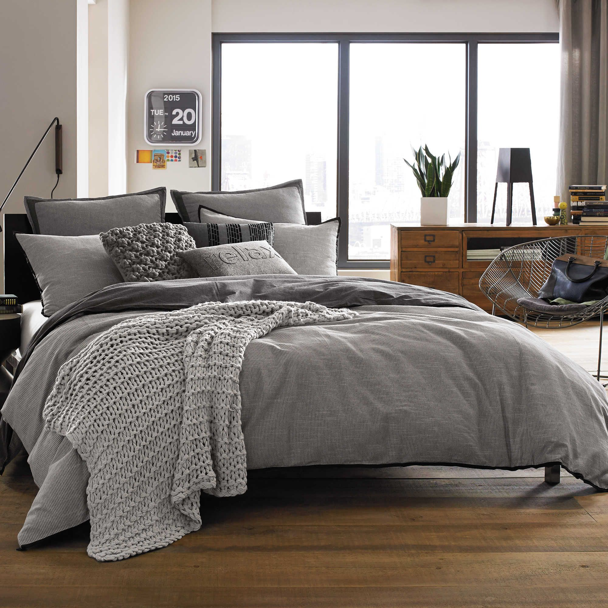 Kenneth Cole Reaction Home Oxford Comforter In Grey Stripe Bed