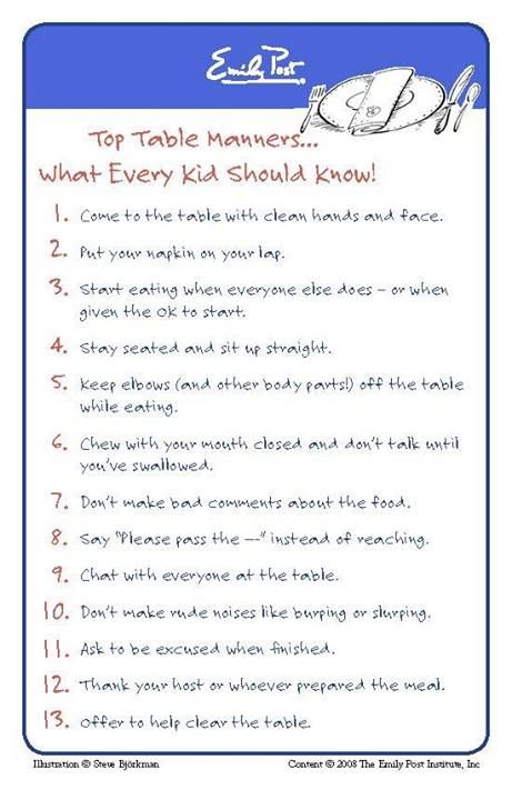 Basic parenting etiquette rules that should never be for Table etiquette rules