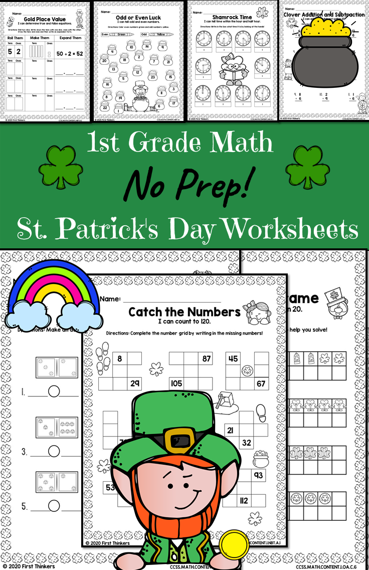 St Patrick S Day 1st Grade Math Worksheets 1st Grade Math Worksheets 1st Grade Math First Grade Math Worksheets [ 1136 x 736 Pixel ]