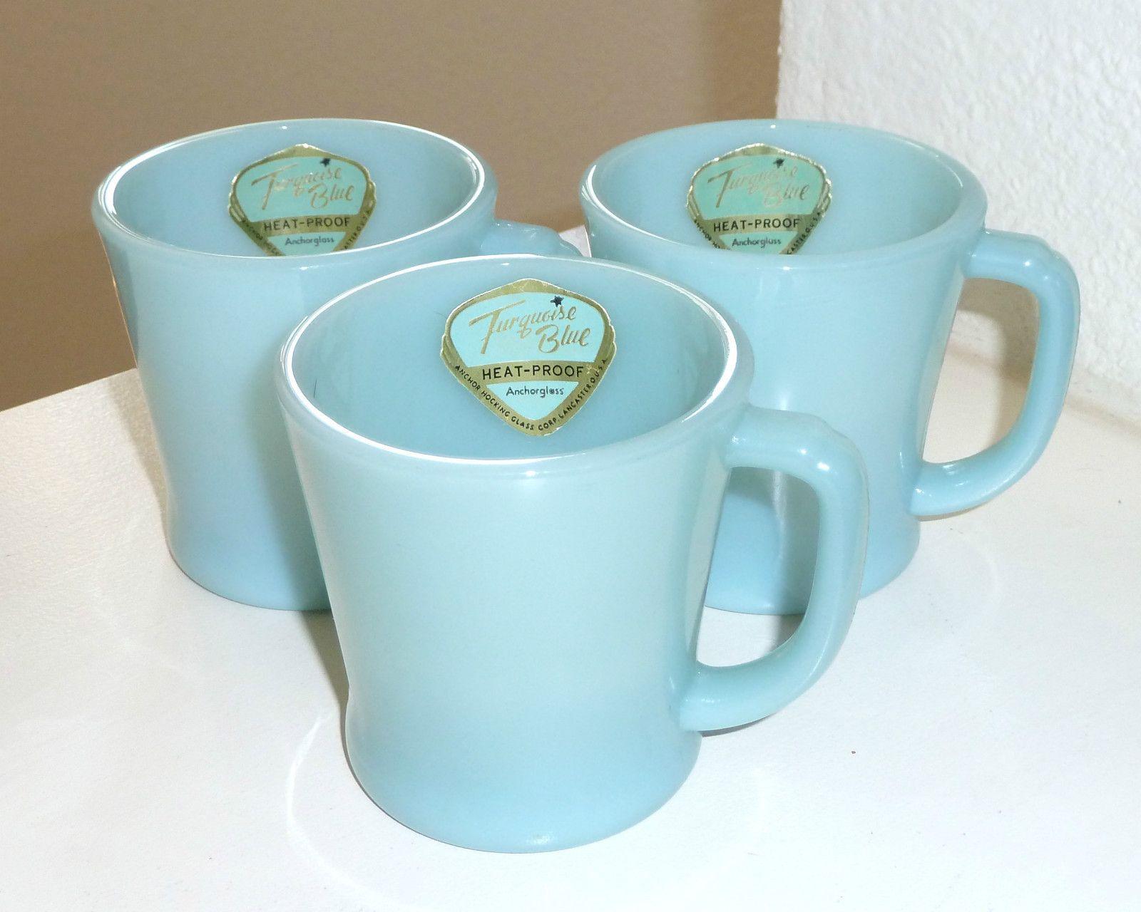 3 Mint Fire King Turquoise Blue D Handle Coffee Mug Original Foil Label Delphite